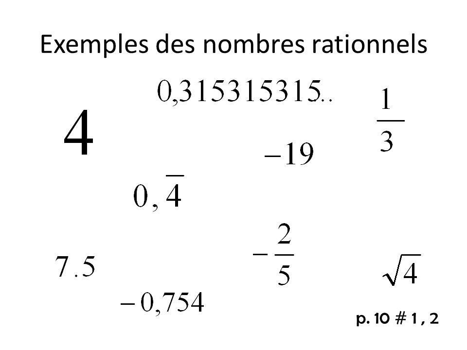 Exemples des nombres rationnels