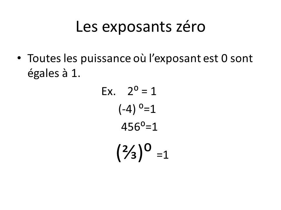 (⅔)⁰ =1 Les exposants zéro