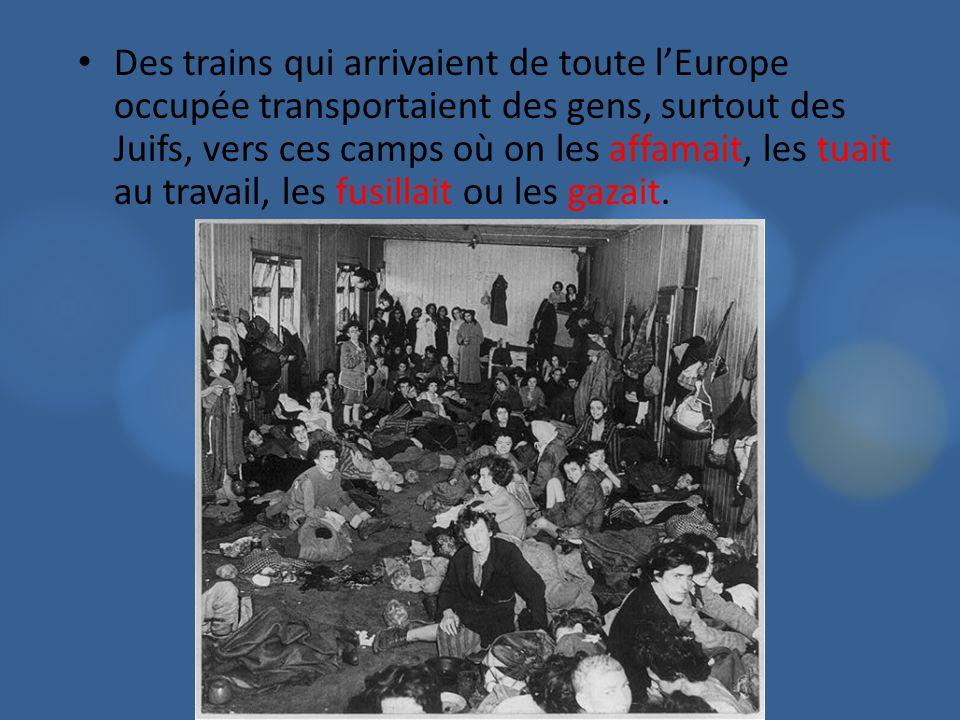 Des trains qui arrivaient de toute l'Europe occupée transportaient des gens, surtout des Juifs, vers ces camps où on les affamait, les tuait au travail, les fusillait ou les gazait.