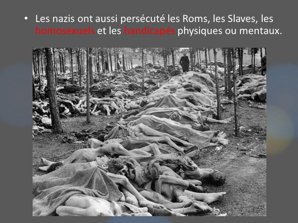 Les nazis ont aussi persécuté les Roms, les Slaves, les homosexuels et les handicapés physiques ou mentaux.