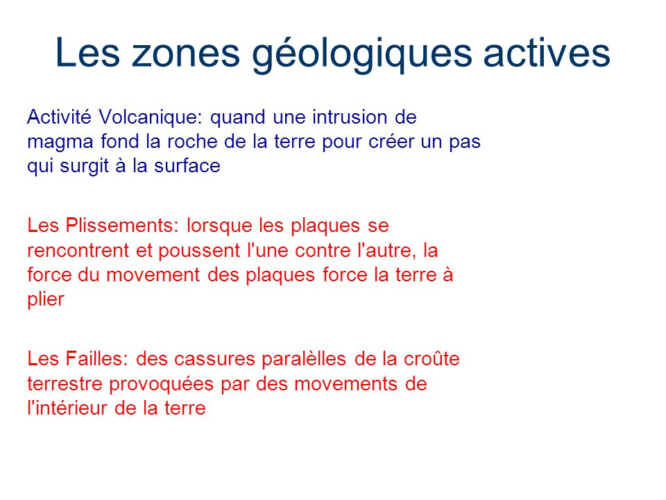 Les zones géologiques actives