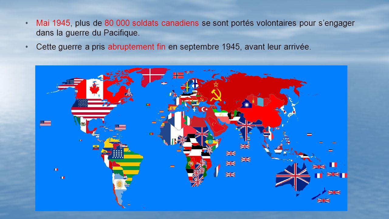 Mai 1945, plus de 80 000 soldats canadiens se sont portés volontaires pour s'engager dans la guerre du Pacifique.
