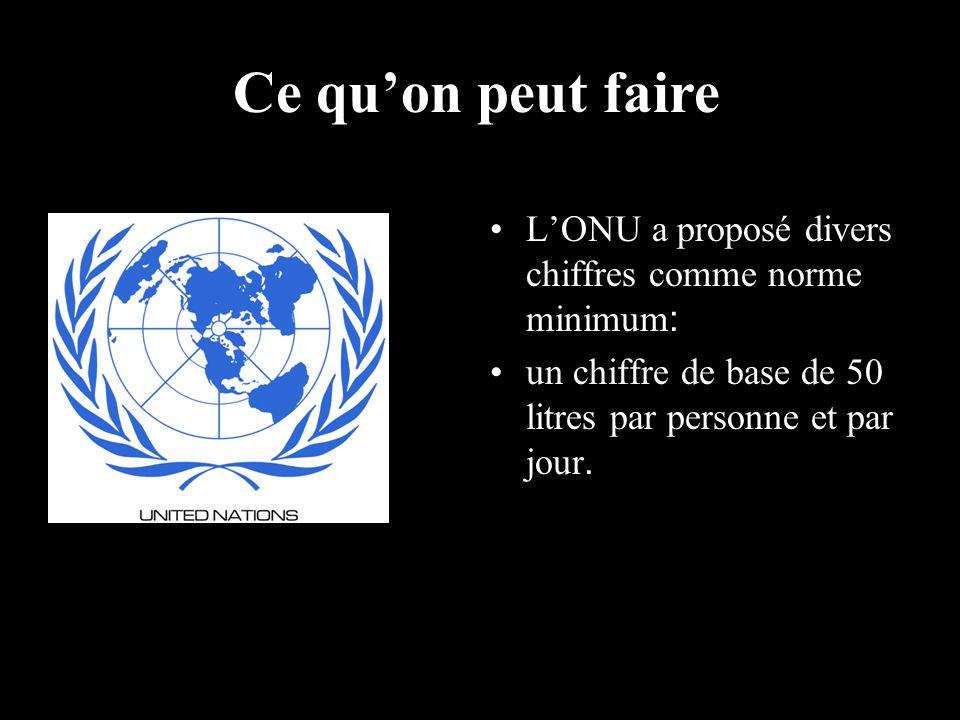 Ce qu'on peut faire L'ONU a proposé divers chiffres comme norme minimum: un chiffre de base de 50 litres par personne et par jour.