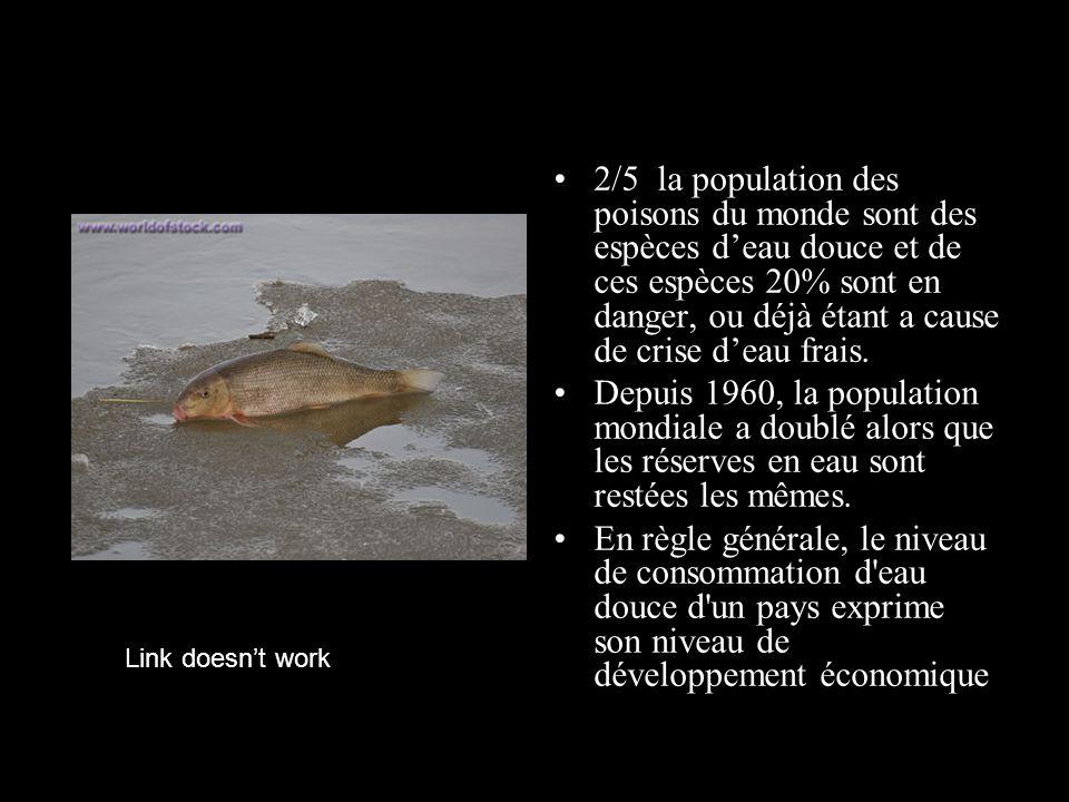 2/5 la population des poisons du monde sont des espèces d'eau douce et de ces espèces 20% sont en danger, ou déjà étant a cause de crise d'eau frais.