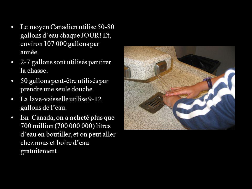 Le moyen Canadien utilise 50-80 gallons d'eau chaque JOUR