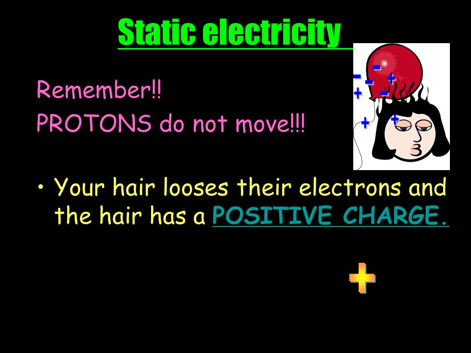 Static electricity - Remember!! PROTONS do not move!!!