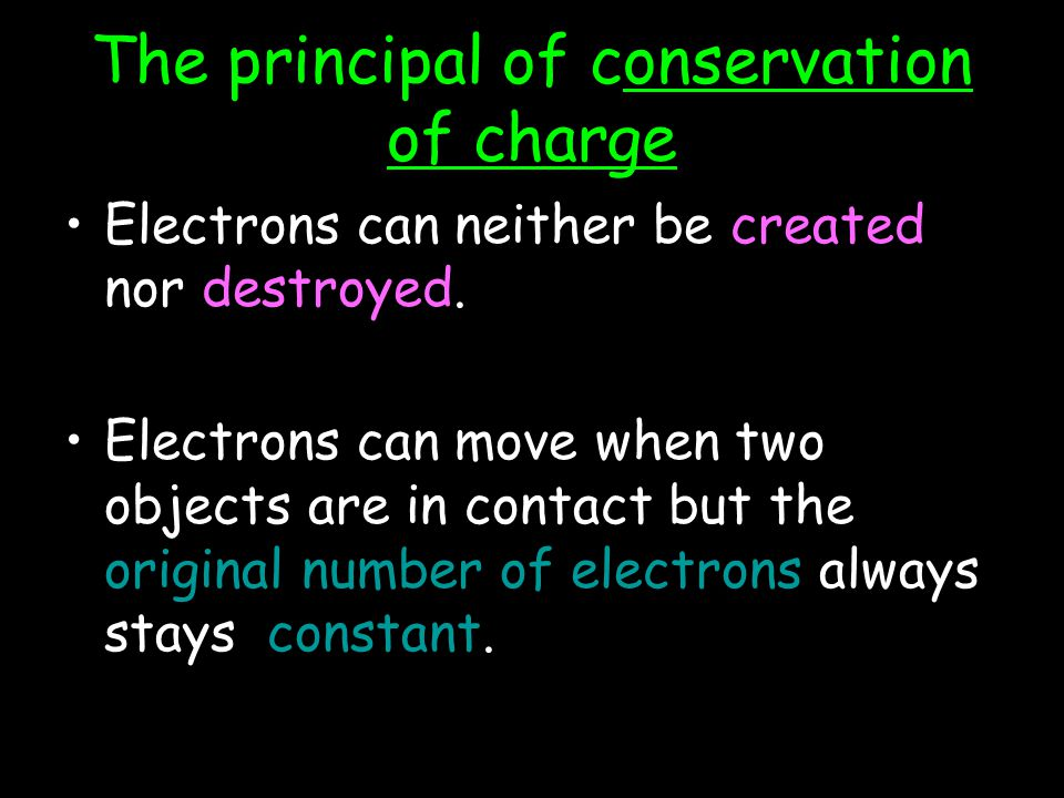 The principal of conservation of charge