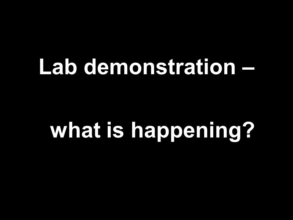 Lab demonstration – what is happening
