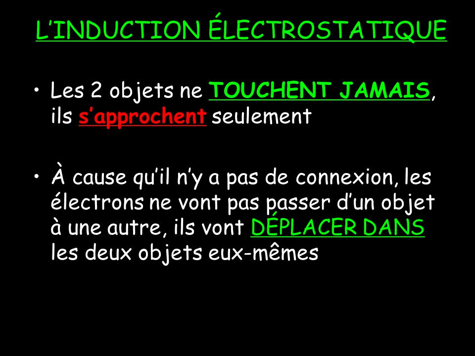 L'INDUCTION ÉLECTROSTATIQUE