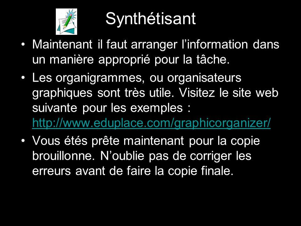 Synthétisant Maintenant il faut arranger l'information dans un manière approprié pour la tâche.