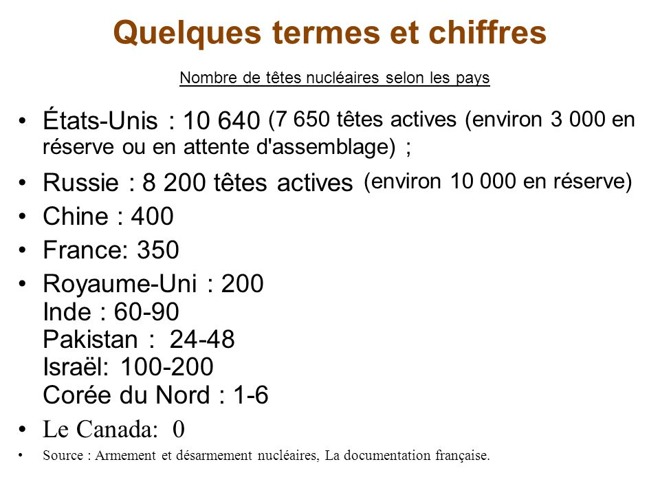 Quelques termes et chiffres Nombre de têtes nucléaires selon les pays