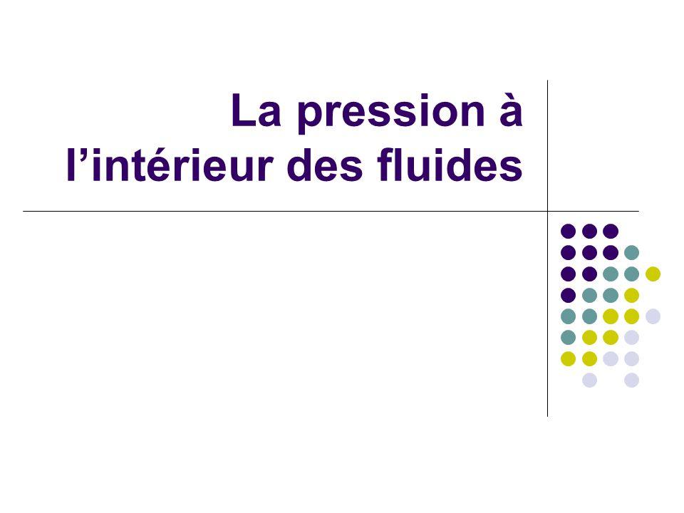 La pression à l'intérieur des fluides