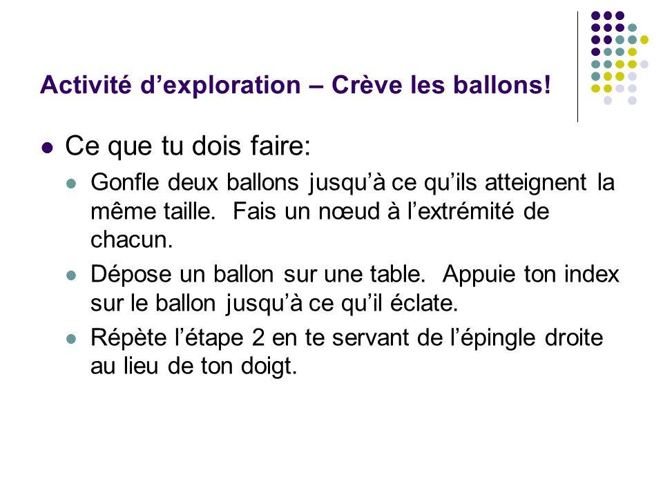 Activité d'exploration – Crève les ballons!