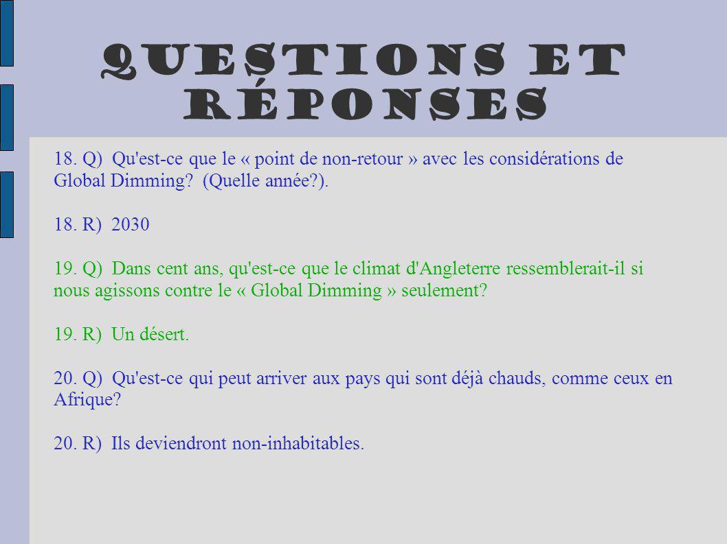 Questions et réponses 18. Q) Qu est-ce que le « point de non-retour » avec les considérations de Global Dimming (Quelle année ).