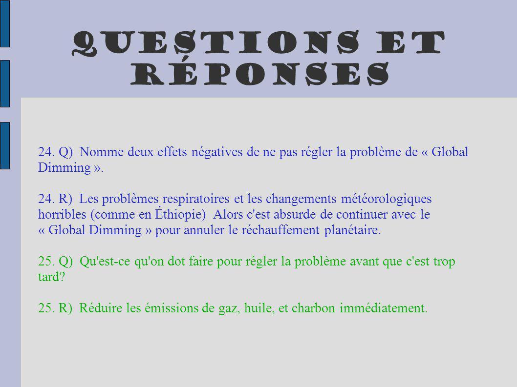 Questions et réponses 24. Q) Nomme deux effets négatives de ne pas régler la problème de « Global Dimming ».