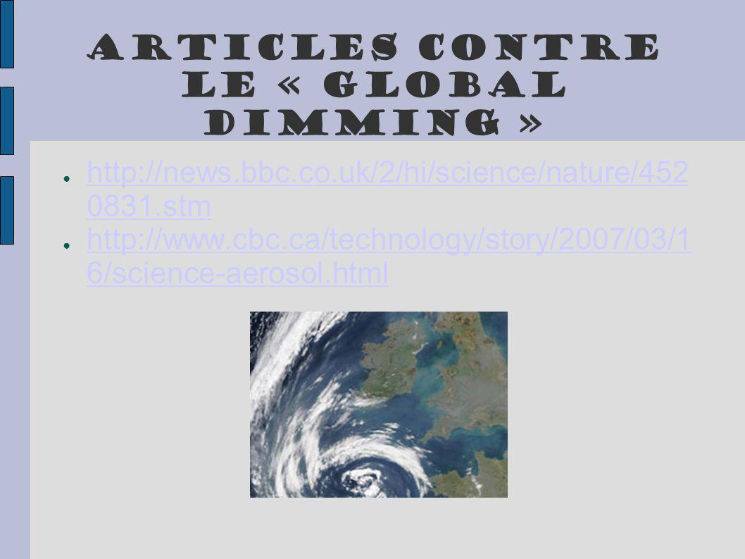 Articles contre le « Global Dimming »