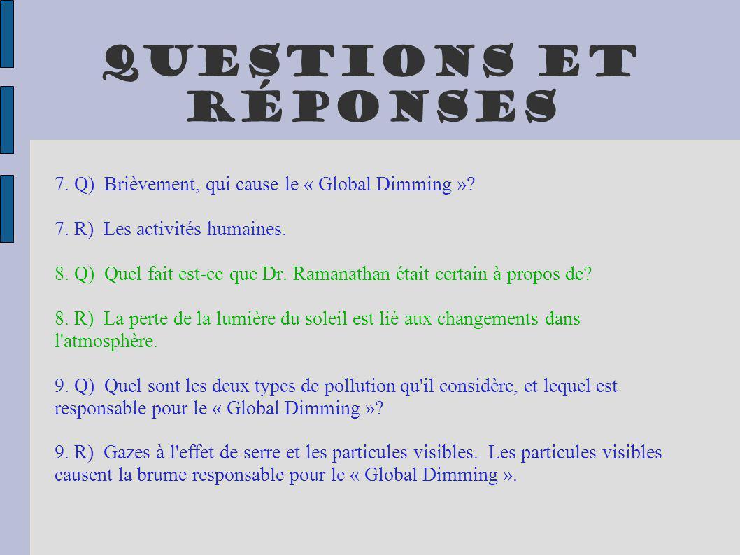 Questions et réponses 7. Q) Brièvement, qui cause le « Global Dimming » 7. R) Les activités humaines.