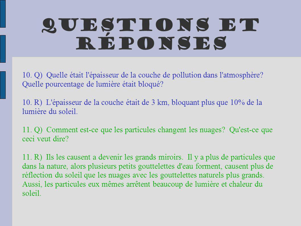 Questions et réponses 10. Q) Quelle était l épaisseur de la couche de pollution dans l atmosphère Quelle pourcentage de lumière était bloqué
