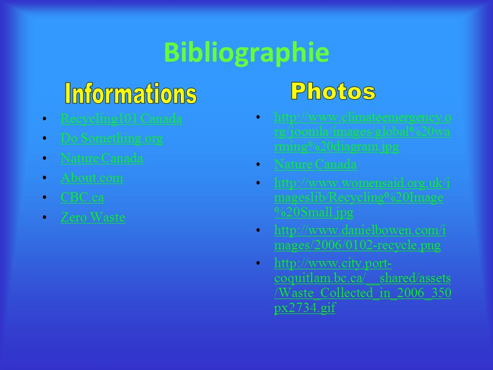 Bibliographie Informations Photos Recycling101 Canada Do Something.org