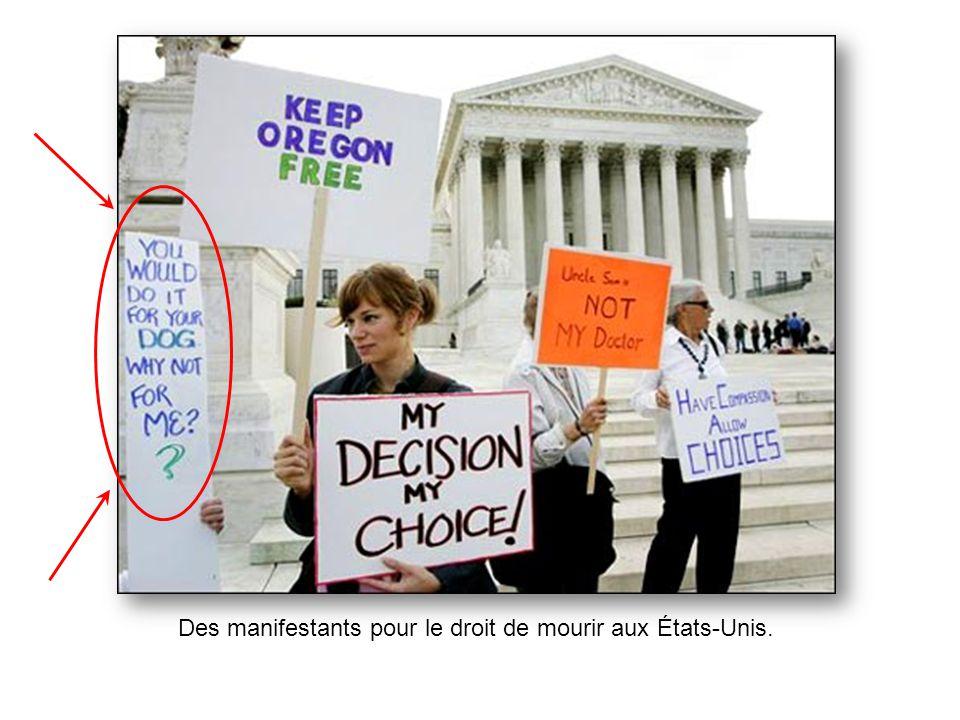 Des manifestants pour le droit de mourir aux États-Unis.