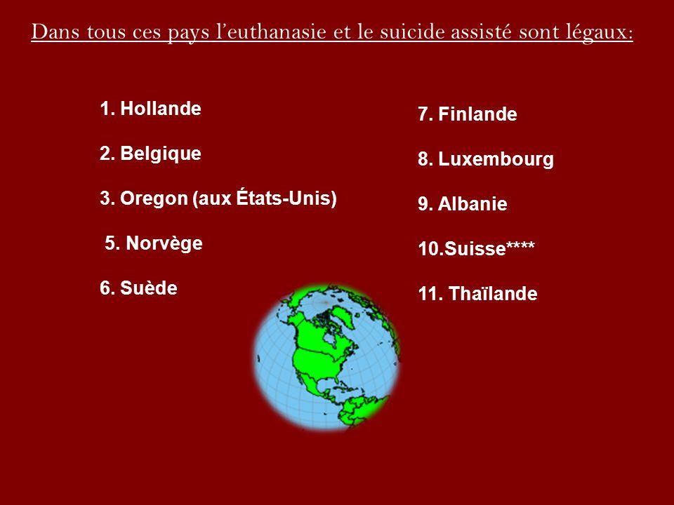 Dans tous ces pays l'euthanasie et le suicide assisté sont légaux: