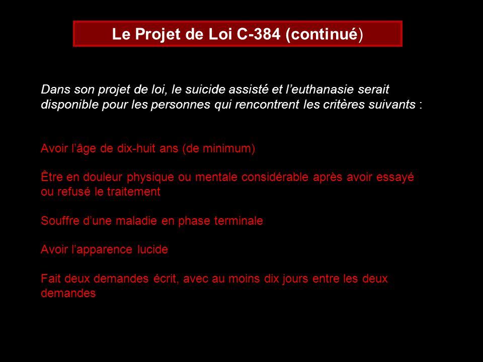 Le Projet de Loi C-384 (continué)