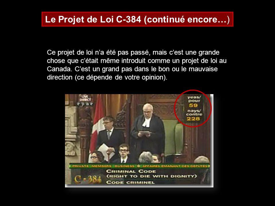 Le Projet de Loi C-384 (continué encore…)