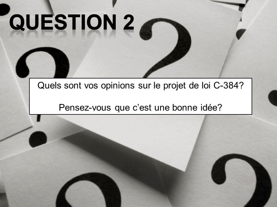 Question 2 Quels sont vos opinions sur le projet de loi C-384