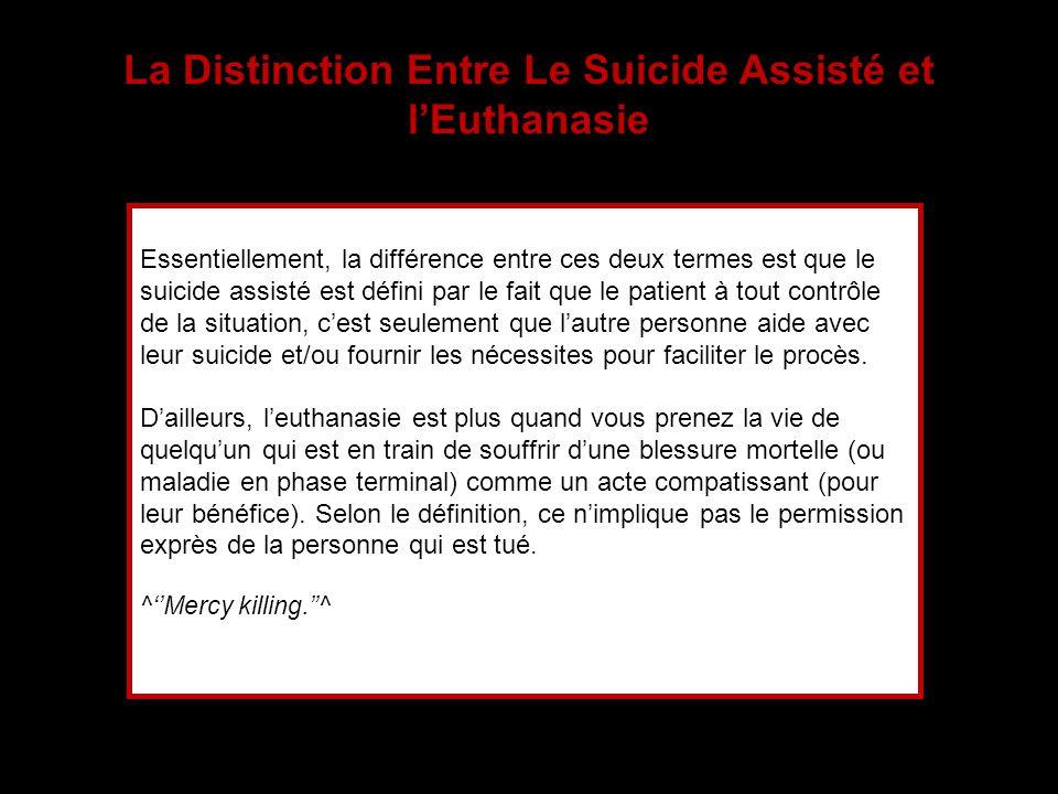 La Distinction Entre Le Suicide Assisté et l'Euthanasie