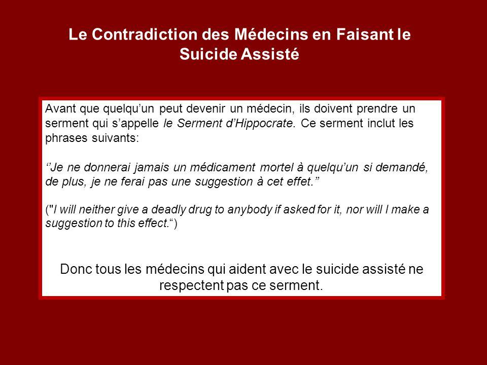 Le Contradiction des Médecins en Faisant le Suicide Assisté