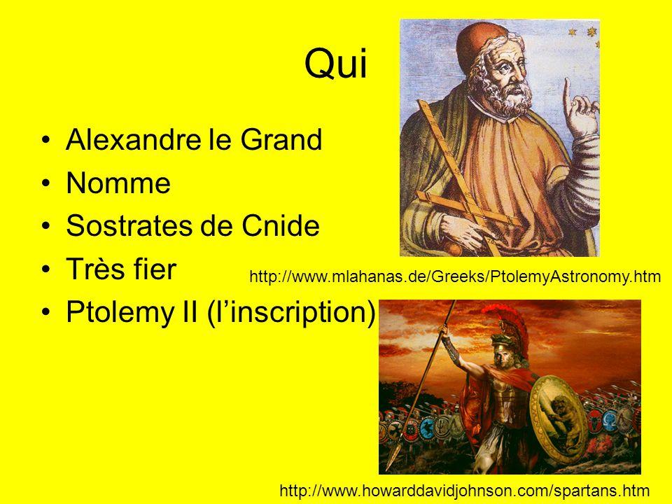 Qui Alexandre le Grand Nomme Sostrates de Cnide Très fier