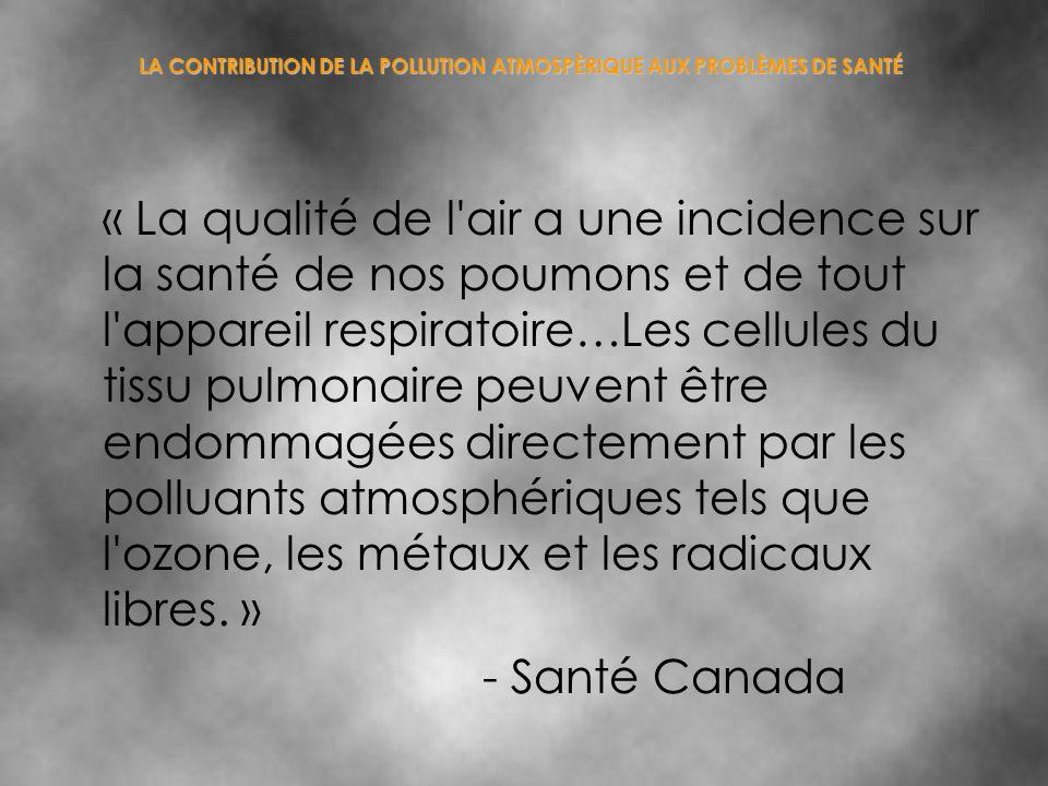 LA CONTRIBUTION DE LA POLLUTION ATMOSPÈRIQUE AUX PROBLÈMES DE SANTÉ