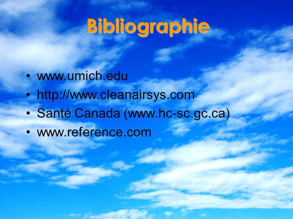 Bibliographie www.umich.edu http://www.cleanairsys.com