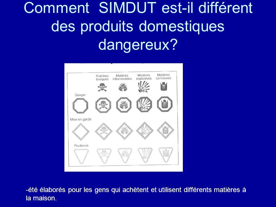 Comment SIMDUT est-il différent des produits domestiques dangereux
