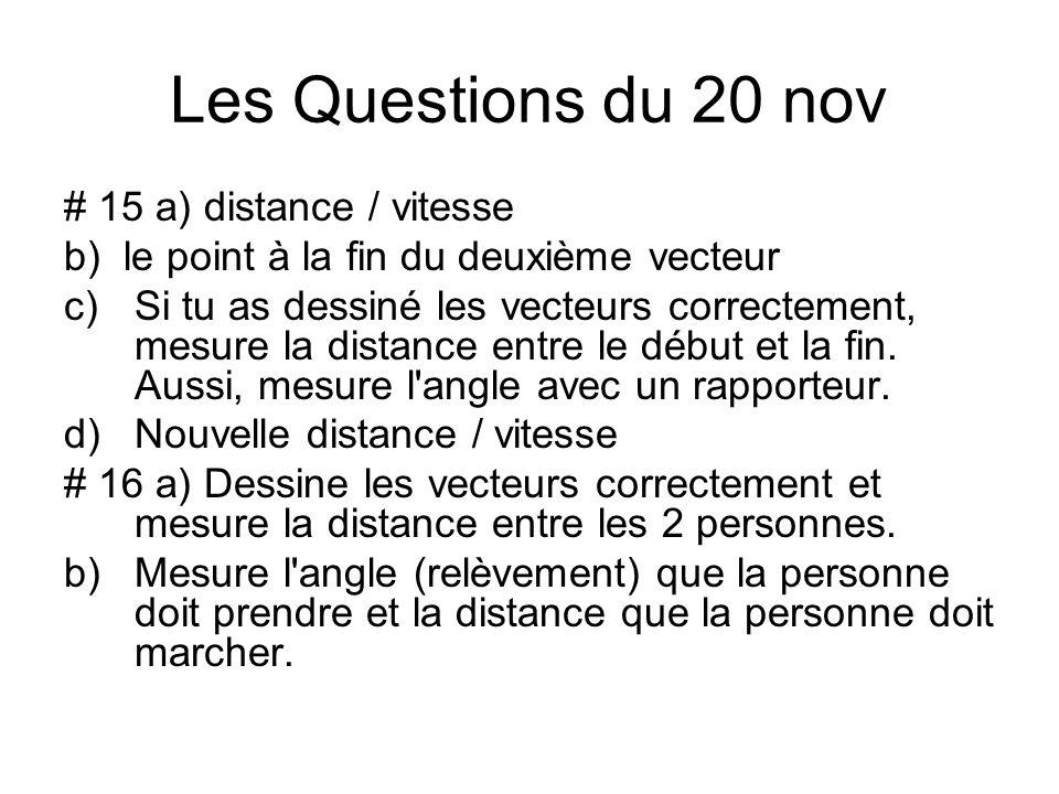 Les Questions du 20 nov # 15 a) distance / vitesse