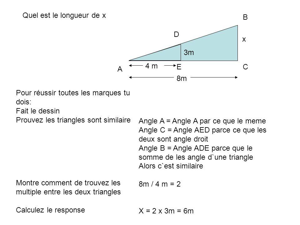 Quel est le longueur de x