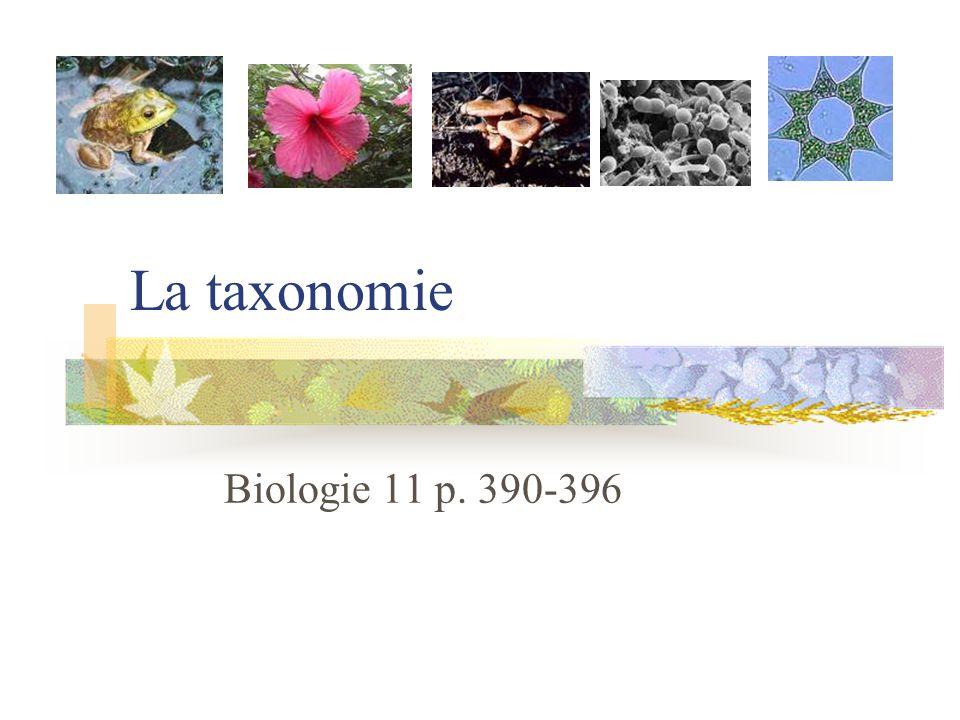 La taxonomie Biologie 11 p. 390-396