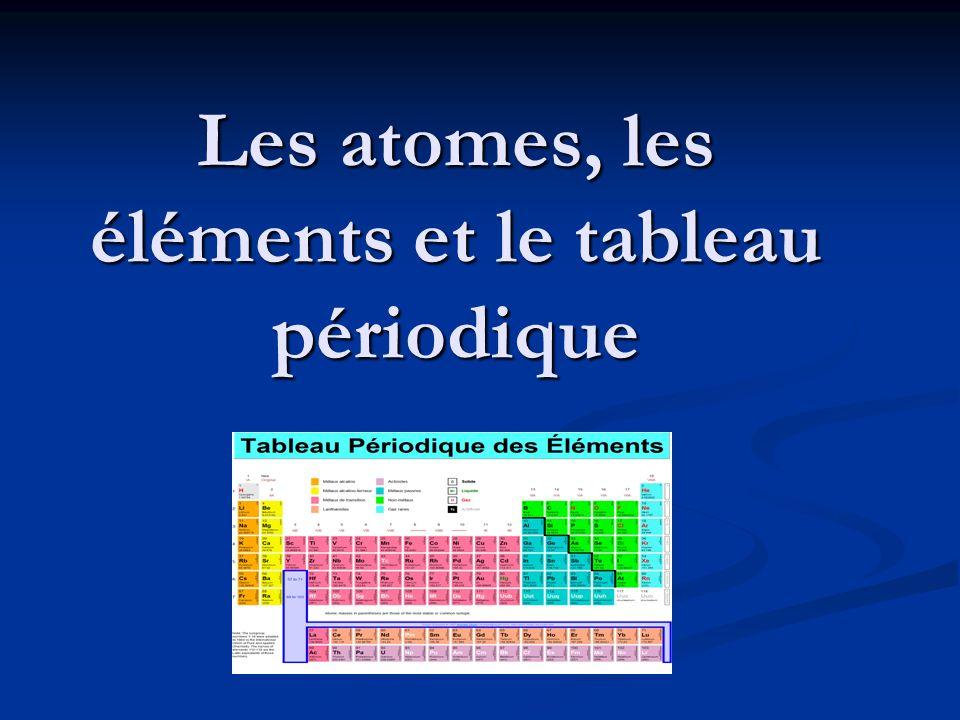 Les atomes, les éléments et le tableau périodique