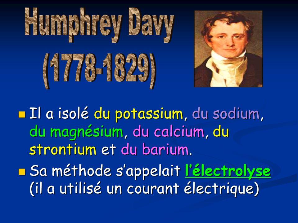Humphrey Davy (1778-1829) Il a isolé du potassium, du sodium, du magnésium, du calcium, du strontium et du barium.