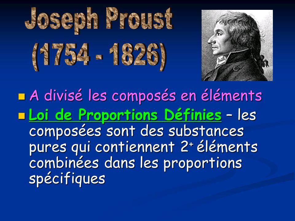 Joseph Proust (1754 - 1826) A divisé les composés en éléments.