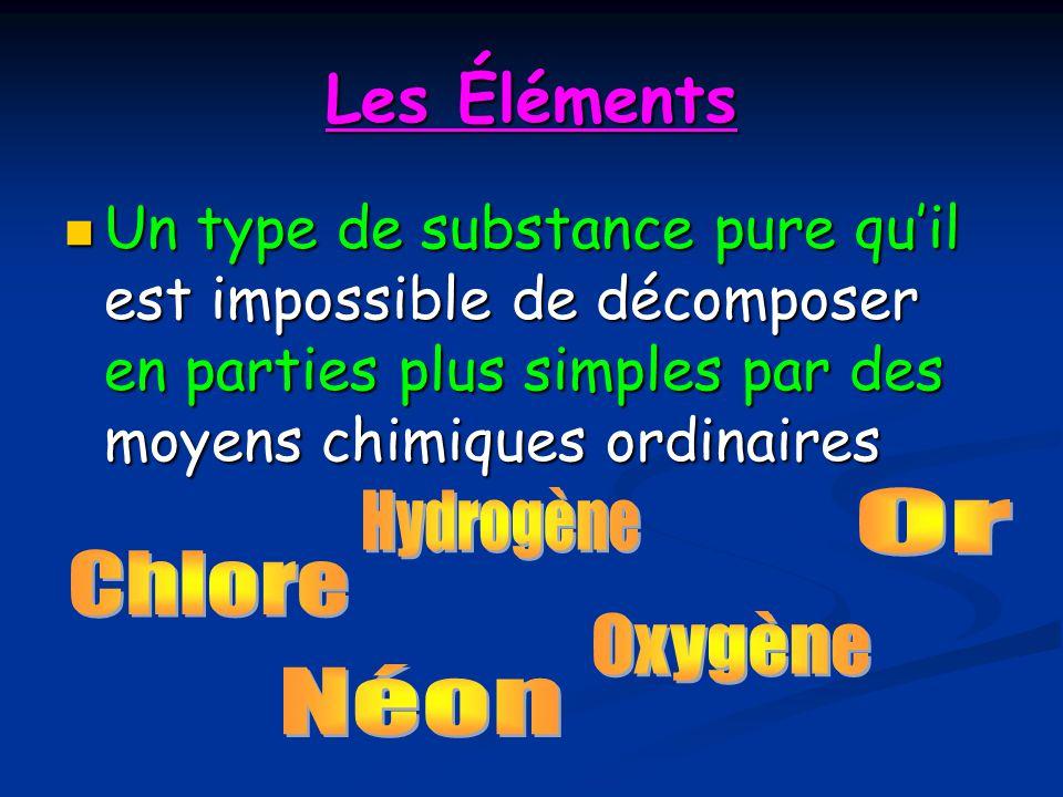 Les Éléments Un type de substance pure qu'il est impossible de décomposer en parties plus simples par des moyens chimiques ordinaires.