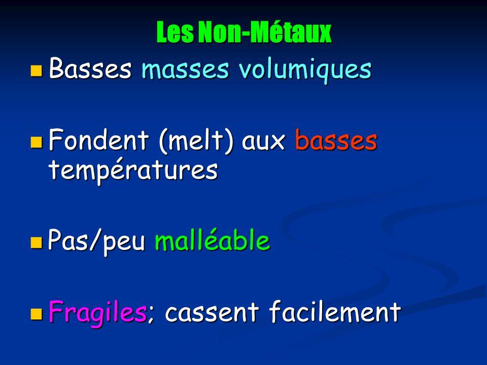 Les Non-Métaux Basses masses volumiques. Fondent (melt) aux basses températures. Pas/peu malléable.
