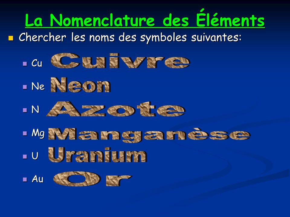 La Nomenclature des Éléments