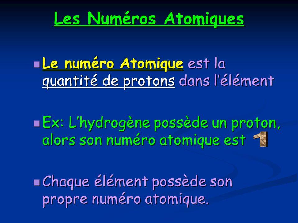 Les Numéros Atomiques Le numéro Atomique est la quantité de protons dans l'élément. Ex: L'hydrogène possède un proton, alors son numéro atomique est.