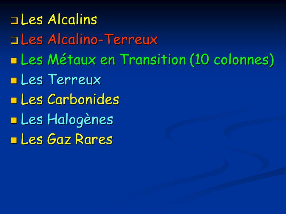 Les Alcalins Les Alcalino-Terreux. Les Métaux en Transition (10 colonnes) Les Terreux. Les Carbonides.