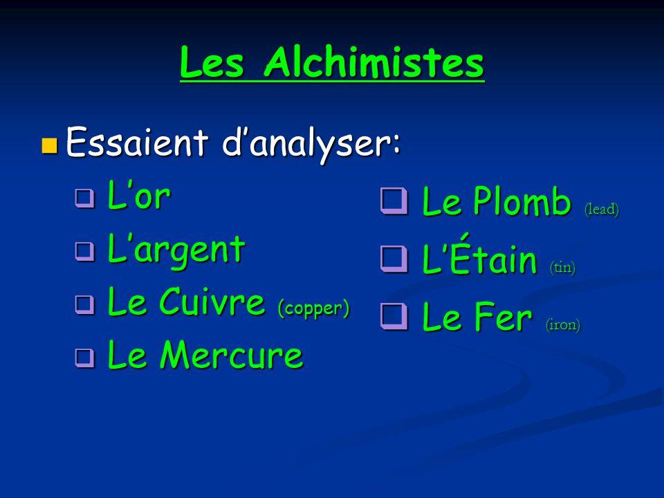 Les Alchimistes Essaient d'analyser: L'or L'argent Le Plomb (lead)