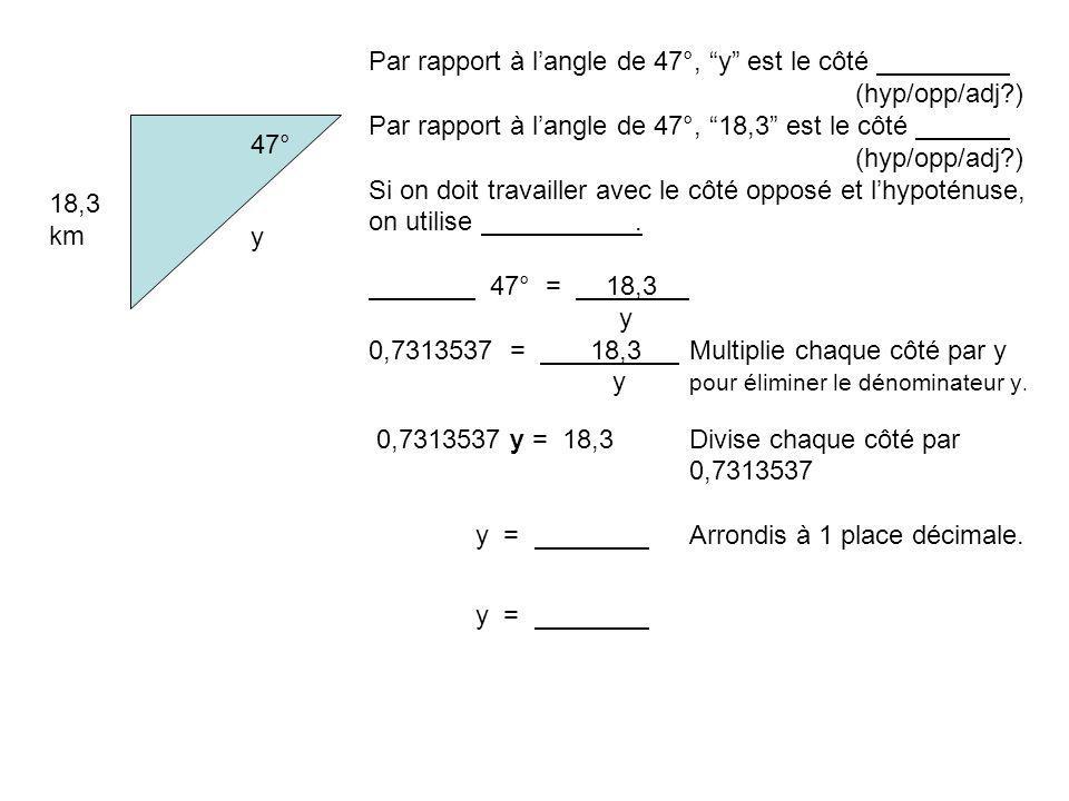 Par rapport à l'angle de 47°, y est le côté (hyp/opp/adj )