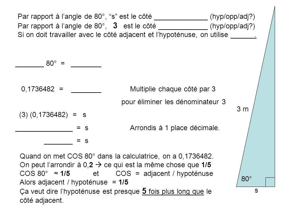 Par rapport à l'angle de 80°, s est le côté (hyp/opp/adj )