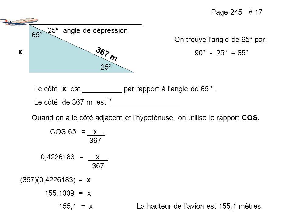 x 367 m Page 245 # 17 25° angle de dépression 65°