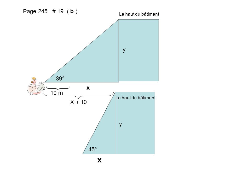x Page 245 # 19 ( b ) y 39° x 10 m X + 10 y 45° Le haut du bâtiment